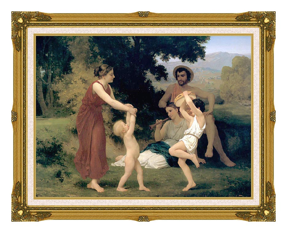 William Bouguereau Pastoral with Museum Ornate Frame w/Liner