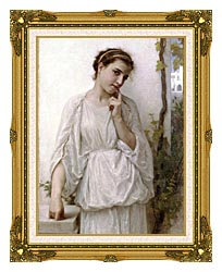William Bouguereau Revery canvas with museum ornate gold frame