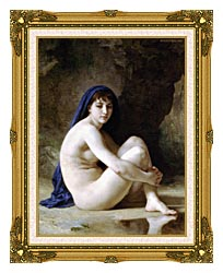 William Bouguereau Seated Nude canvas with museum ornate gold frame