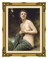 William Bouguereau Spring Breeze canvas with museum ornate gold frame