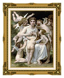 William Bouguereau The Assault canvas with museum ornate gold frame