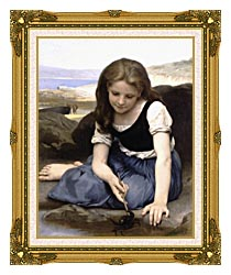 William Bouguereau The Crab canvas with museum ornate gold frame