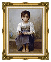 William Bouguereau The Difficult Lesson canvas with museum ornate gold frame
