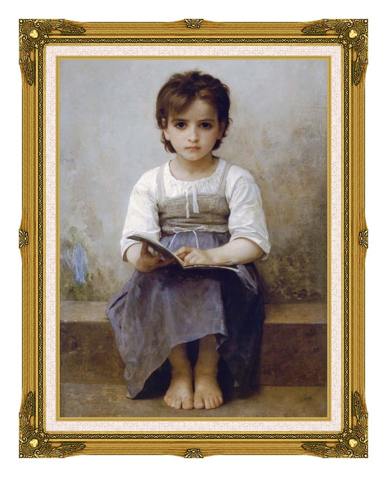 William Bouguereau The Difficult Lesson with Museum Ornate Frame w/Liner