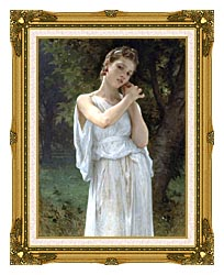 William Bouguereau The Earrings canvas with museum ornate gold frame