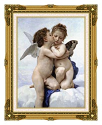 William Bouguereau The First Kiss canvas with museum ornate gold frame