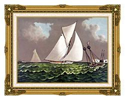 Currier And Ives Sailboats Nearing The Finish Line canvas with museum ornate gold frame