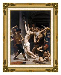 William Bouguereau The Flagellation Of Christ canvas with museum ornate gold frame