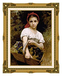 William Bouguereau The Grape Picker canvas with museum ornate gold frame