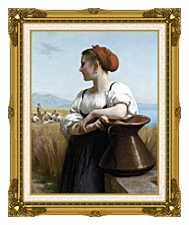 William Bouguereau The Harvester canvas with museum ornate gold frame