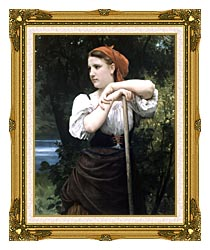 William Bouguereau The Haymaker canvas with museum ornate gold frame
