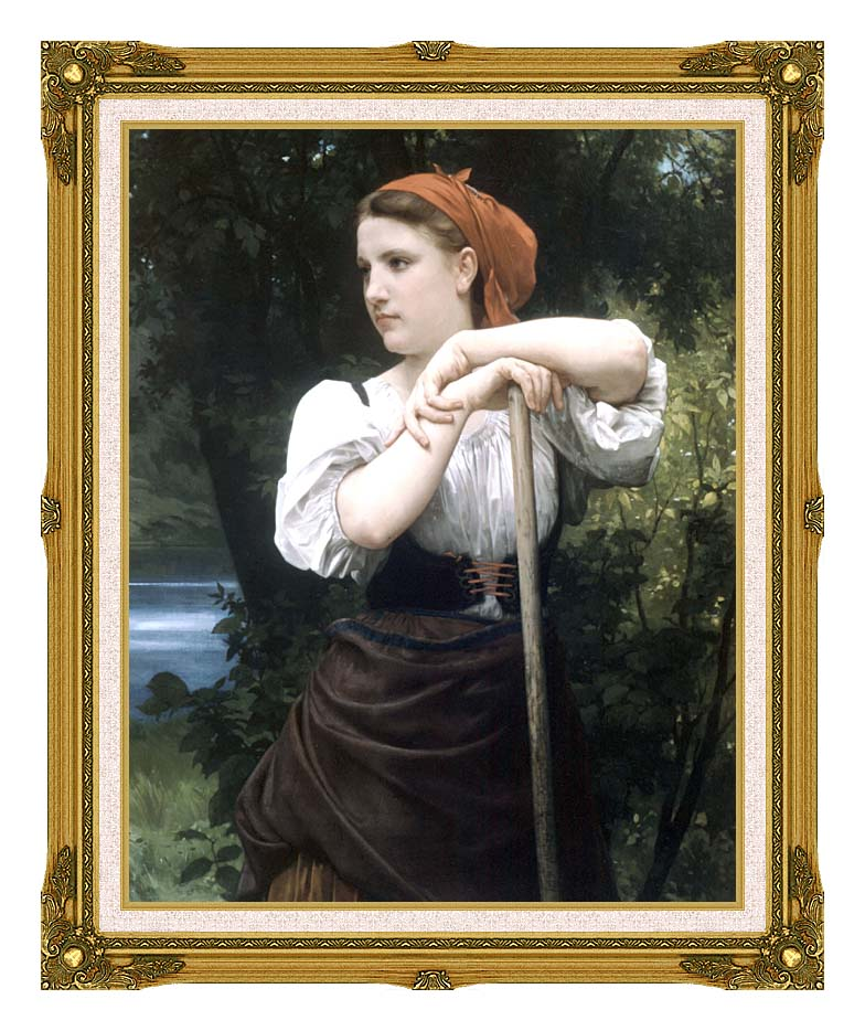 William Bouguereau The Haymaker with Museum Ornate Frame w/Liner