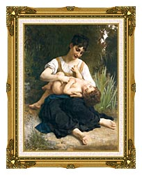 William Bouguereau The Joy Of Motherhood canvas with museum ornate gold frame