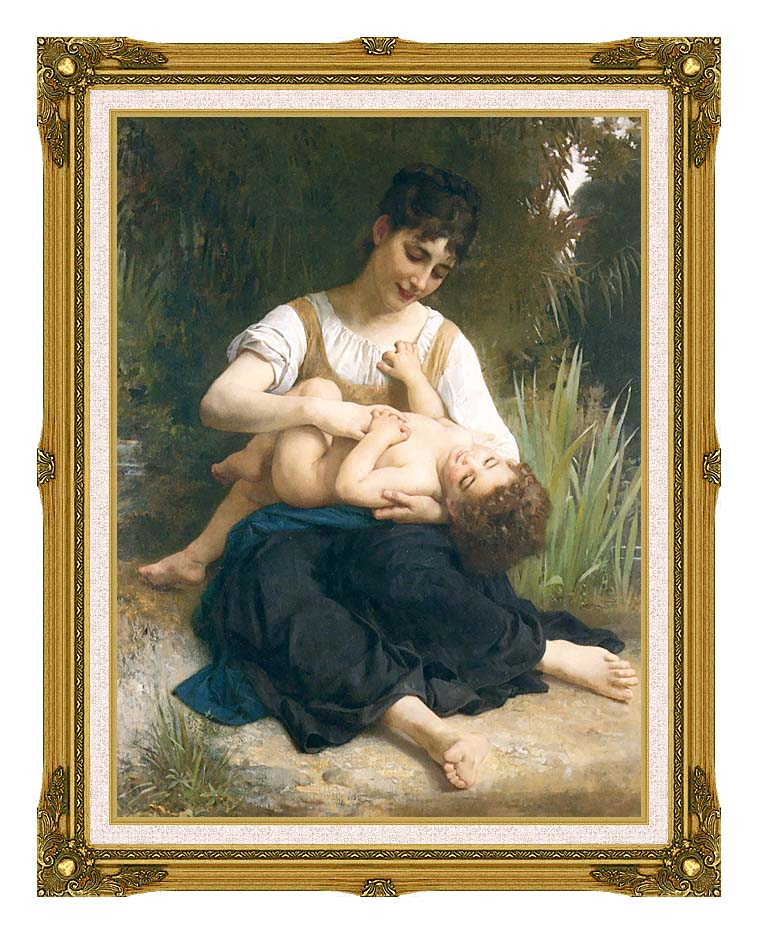 William Bouguereau The Joy of Motherhood with Museum Ornate Frame w/Liner