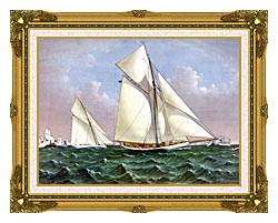 Currier And Ives Mayflower Saluted By The Fleet canvas with museum ornate gold frame