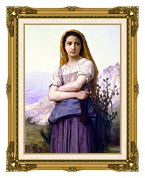 William Bouguereau The Knitter canvas with museum ornate gold frame