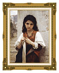 William Bouguereau Young Girl Knitting canvas with museum ornate gold frame
