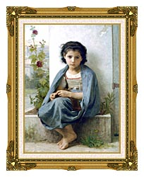 William Bouguereau The Little Knitter canvas with museum ornate gold frame