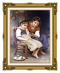 William Bouguereau The Little Sulk canvas with museum ornate gold frame