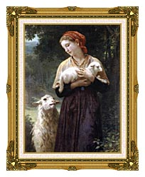 William Bouguereau The Shepardess canvas with museum ornate gold frame