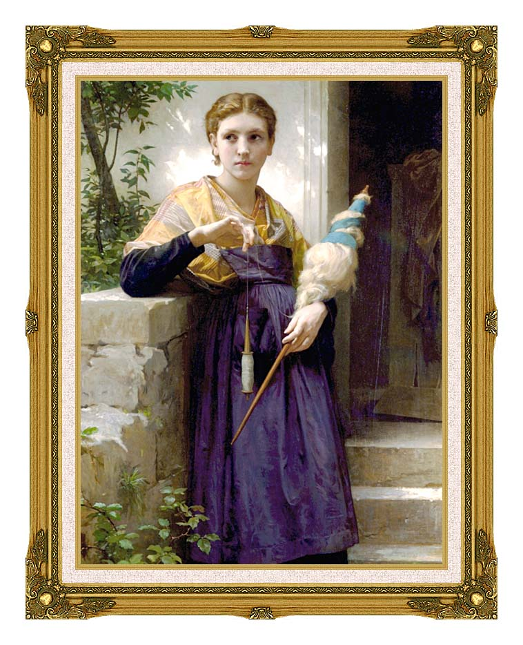 William Bouguereau The Spinner with Museum Ornate Frame w/Liner