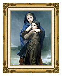 William Bouguereau The Storm canvas with museum ornate gold frame