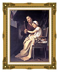 William Bouguereau The Thank Offering canvas with museum ornate gold frame