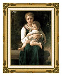 William Bouguereau The Two Sisters canvas with museum ornate gold frame