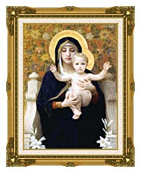 William Bouguereau The Virgin Of The Lilies canvas with museum ornate gold frame