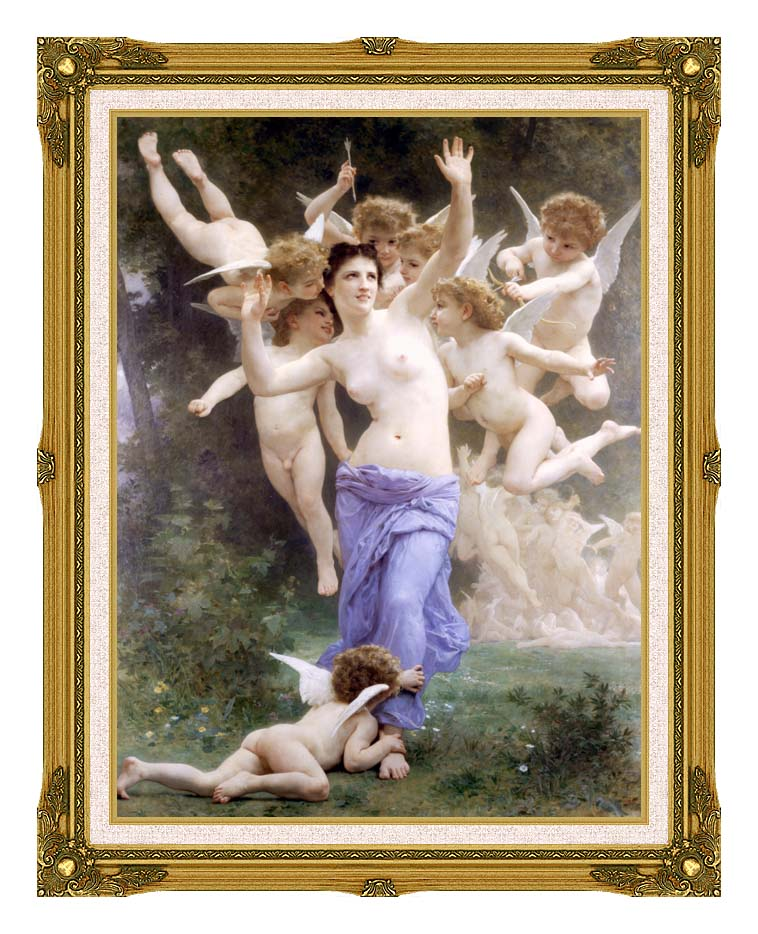 William Bouguereau The Wasp's Nest with Museum Ornate Frame w/Liner