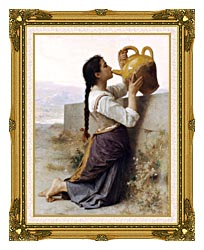 William Bouguereau Thirst canvas with museum ornate gold frame