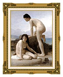 William Bouguereau Two Bathers canvas with museum ornate gold frame