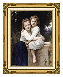 William Bouguereau Two Sisters canvas with museum ornate gold frame