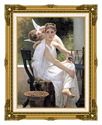 William Bouguereau Work Interrupted canvas with museum ornate gold frame