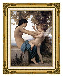 William Bouguereau Young Girl Defending Herself Against Love canvas with museum ornate gold frame