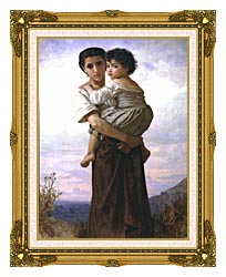 William Bouguereau Young Gypsies canvas with museum ornate gold frame