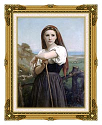 William Bouguereau Young Shepherdess canvas with museum ornate gold frame