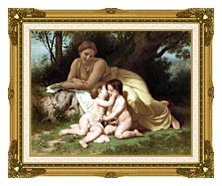 William Bouguereau Young Woman And Children Embracing canvas with museum ornate gold frame