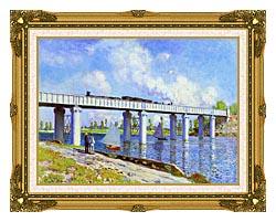 Claude Monet The Railroad Bridge Argenteuil canvas with museum ornate gold frame