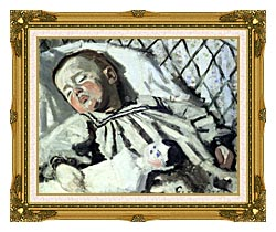 Claude Monet The Artists Son Asleep canvas with museum ornate gold frame