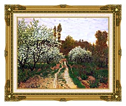 Claude Monet Flowering Apple Trees canvas with museum ornate gold frame