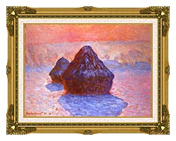 Claude Monet Haystacks Snow Effect canvas with museum ornate gold frame