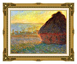Claude Monet Haystack At Sunset Near Giverny canvas with museum ornate gold frame
