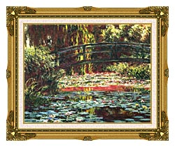 Claude Monet Japanese Foot Bridge At Giverny canvas with museum ornate gold frame