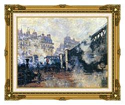 Claude Monet Le Pont De Leurope 1877 canvas with museum ornate gold frame