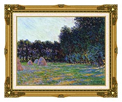 Claude Monet Meadow With Haystacks Near Giverny canvas with museum ornate gold frame
