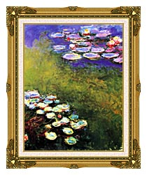 Claude Monet Monet Water Lilies canvas with museum ornate gold frame