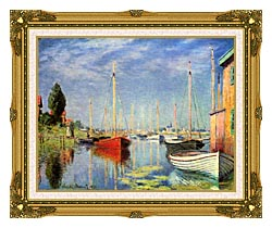 Claude Monet Pleasure Boats At Argenteuil canvas with museum ornate gold frame