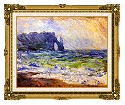 Claude Monet Rain At Etretat canvas with museum ornate gold frame