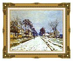 Claude Monet Road At Louveciennes Snow Effect canvas with museum ornate gold frame